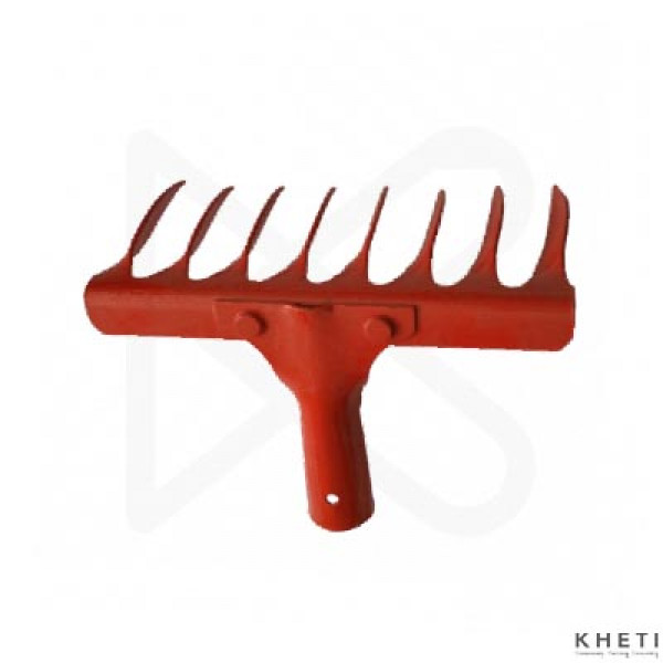 Falcon Steel 8-Teeth Garden Rake with Steel Handle_KJ (Red)